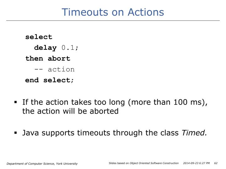 Timeouts on Actions