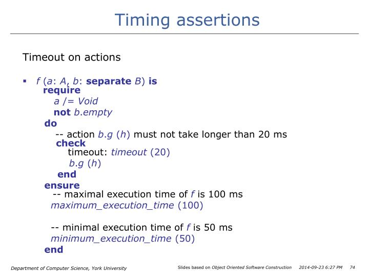 Timing assertions