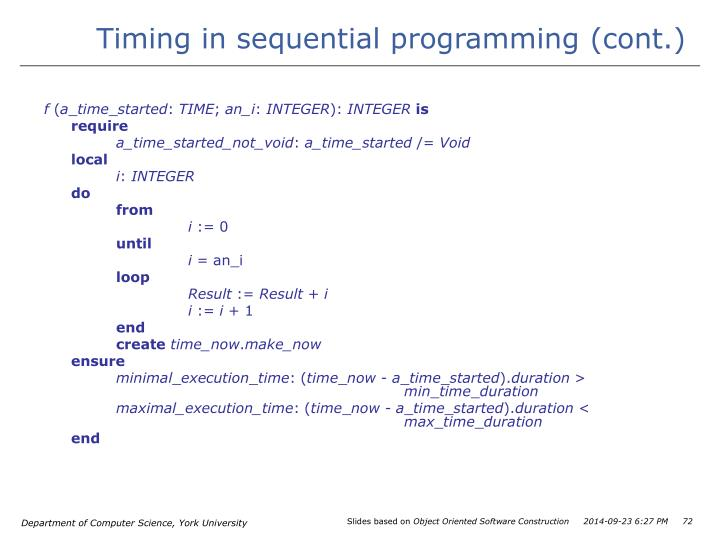 Timing in sequential programming (cont.)