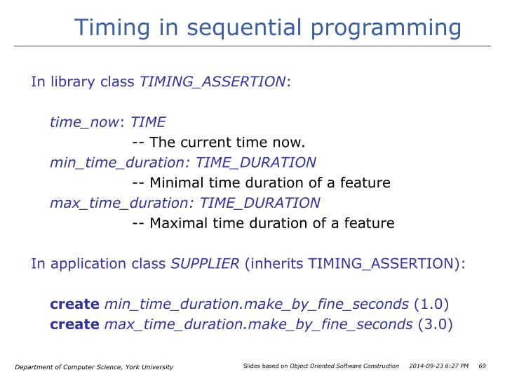 Timing in sequential programming