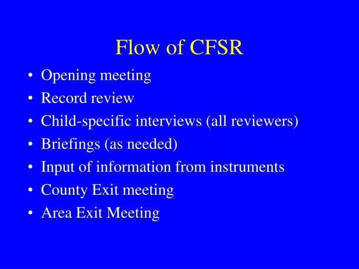 Flow of CFSR