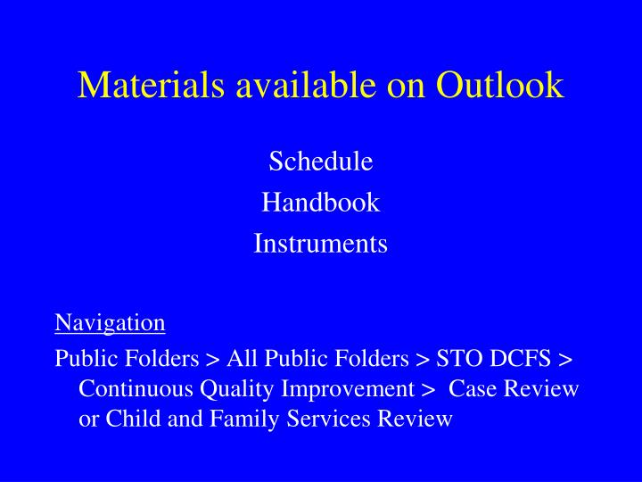 Materials available on Outlook