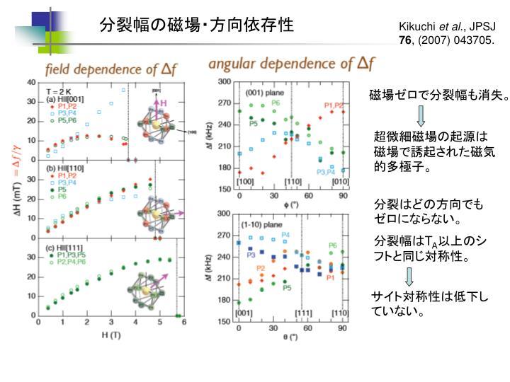 分裂幅の磁場・方向依存性