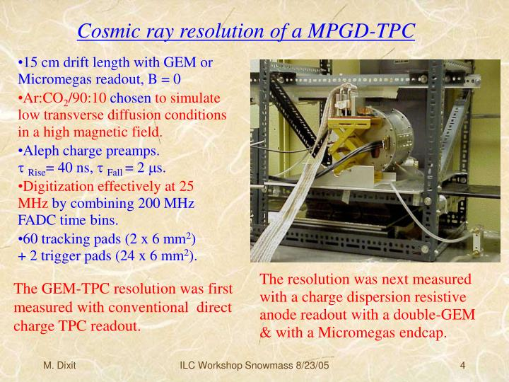 Cosmic ray resolution of a MPGD-TPC