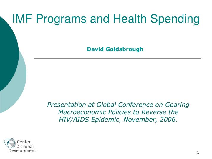 IMF Programs and Health Spending
