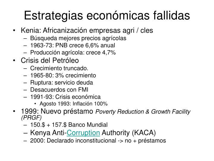 Estrategias económicas fallidas