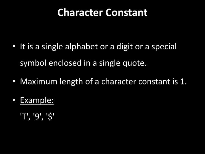 Character Constant