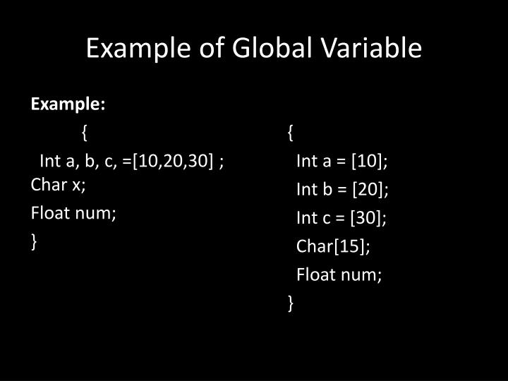 Example of Global Variable