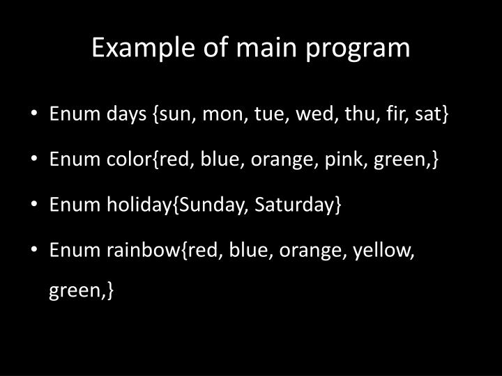 Example of main program