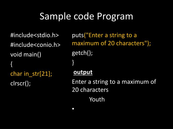 Sample code Program
