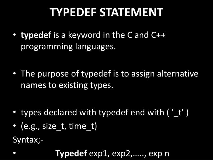 TYPEDEF STATEMENT