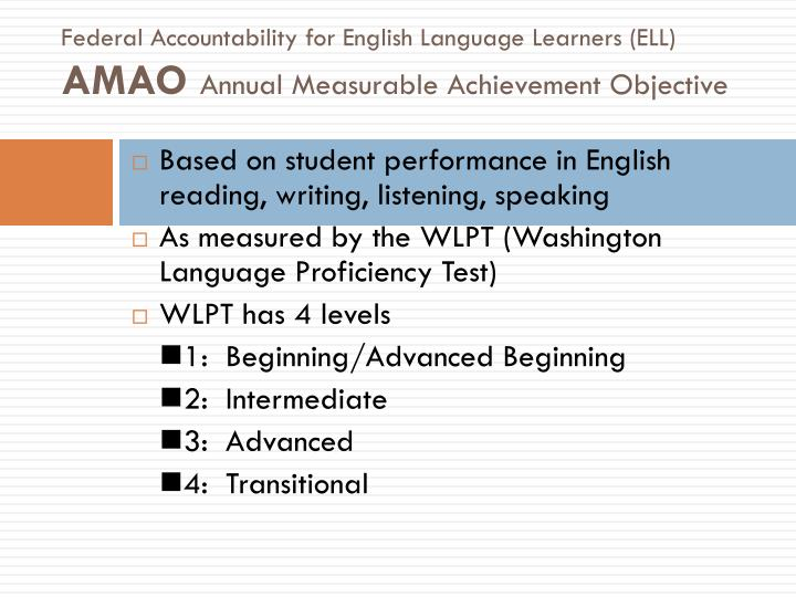 Federal Accountability for English Language Learners (ELL)