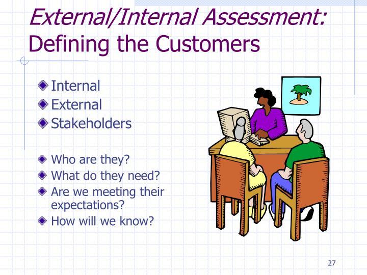 External/Internal Assessment:
