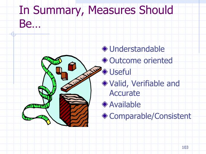 In Summary, Measures Should Be…