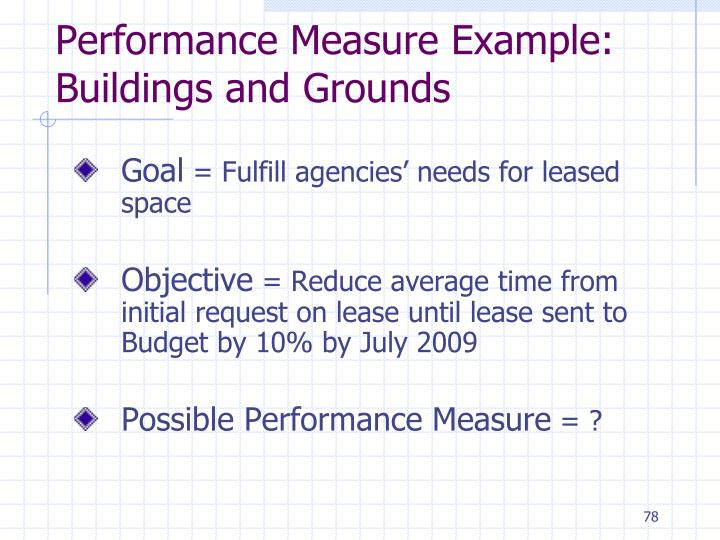 Performance Measure Example: Buildings and Grounds