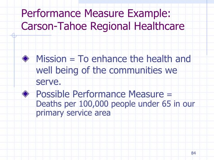Performance Measure Example: Carson-Tahoe Regional Healthcare