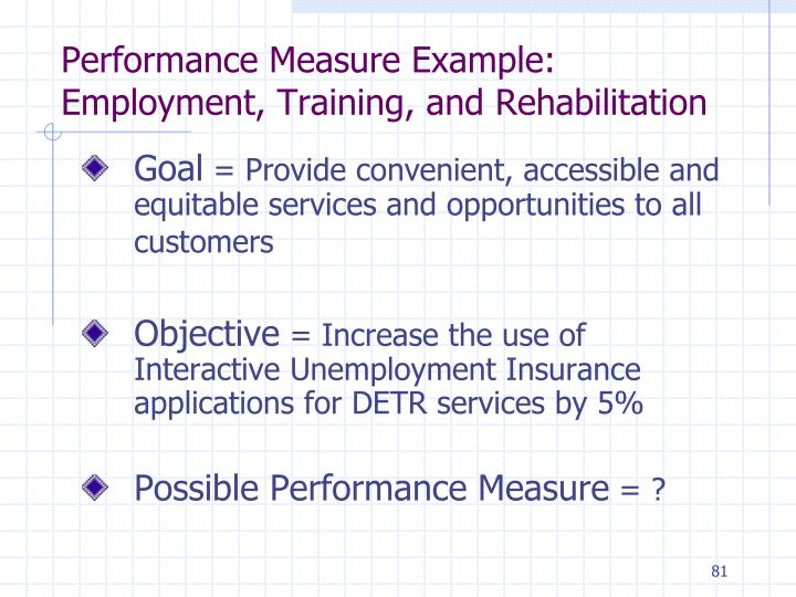 Performance Measure Example: Employment, Training, and Rehabilitation