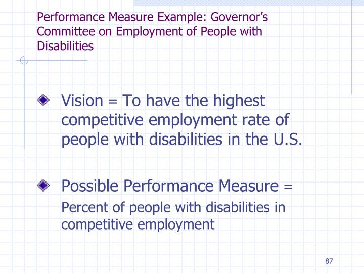 Performance Measure Example: Governor's Committee on Employment of People with Disabilities