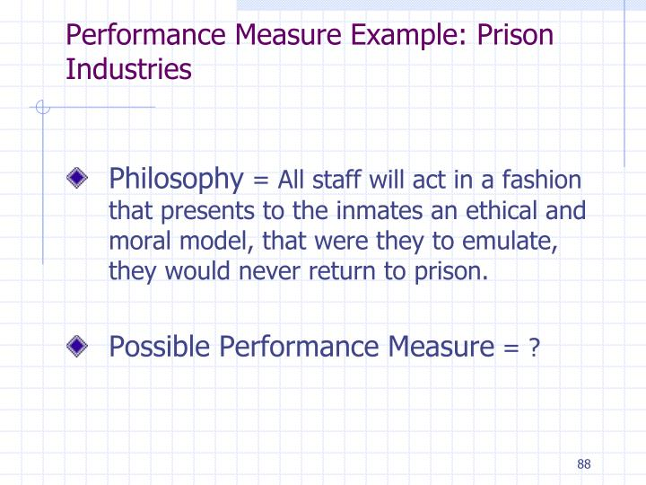 Performance Measure Example: Prison Industries