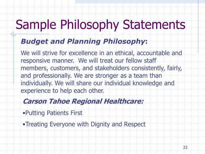 Sample Philosophy Statements