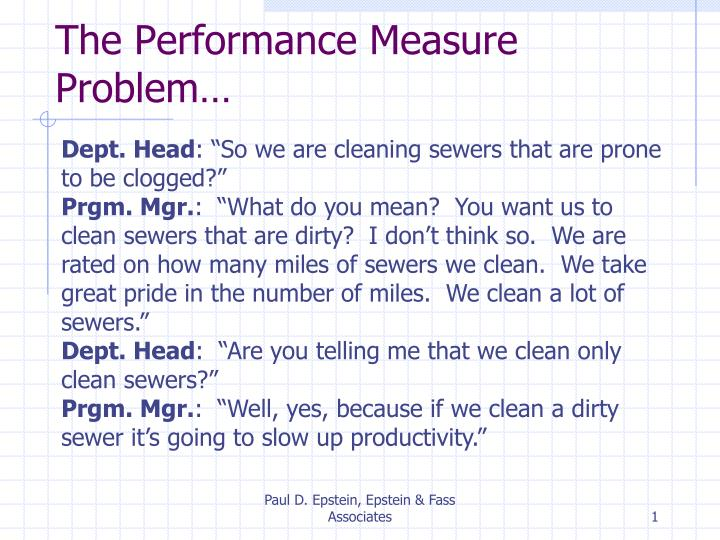 The performance measure problem
