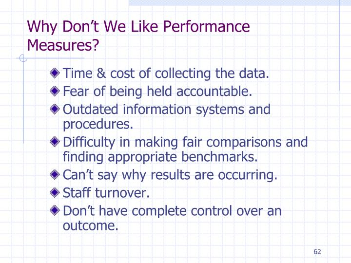 Why Don't We Like Performance Measures?