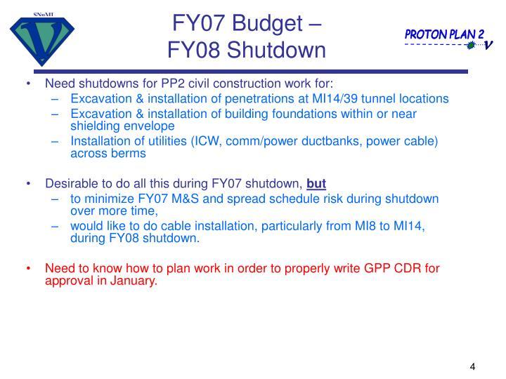 FY07 Budget –