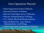 intra operative record