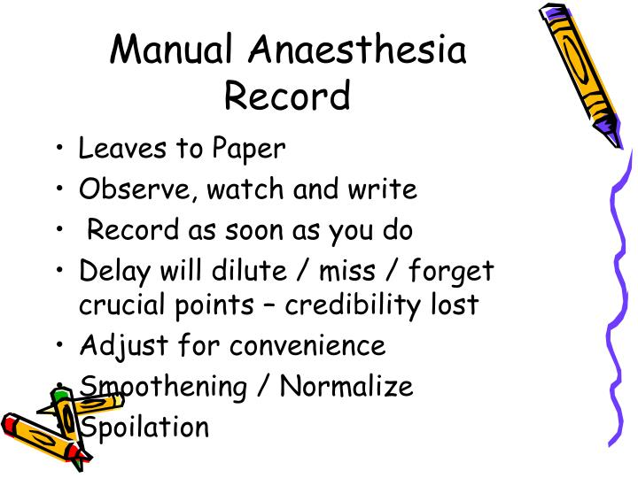 Manual Anaesthesia Record