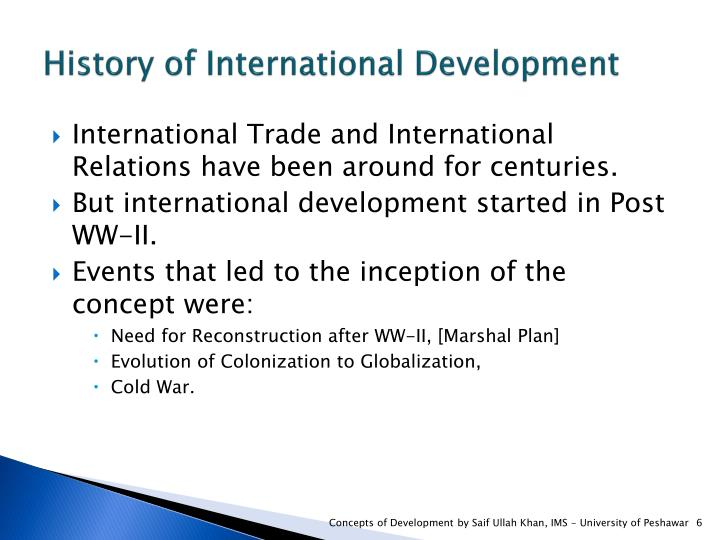 History of International Development