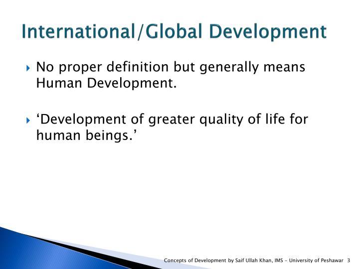 International/Global Development