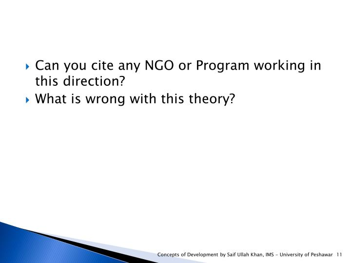 Can you cite any NGO or Program working in this direction?
