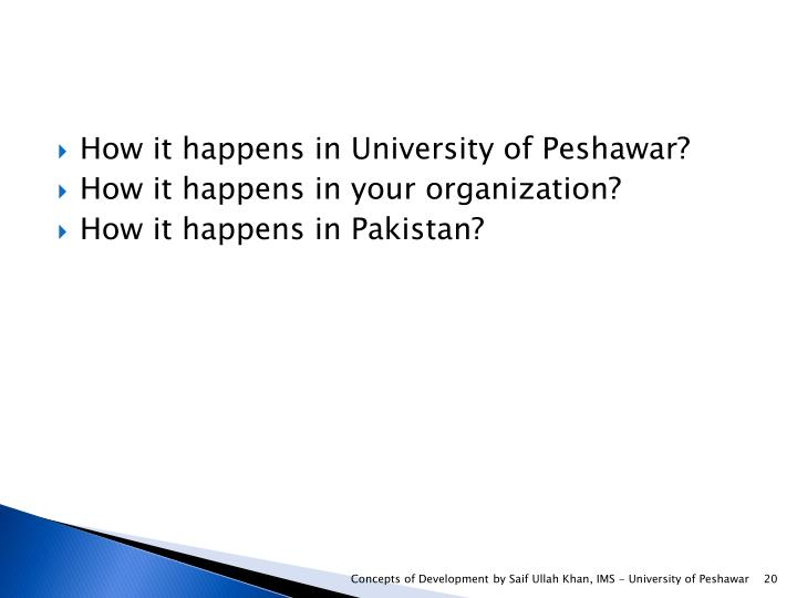 How it happens in University of Peshawar?