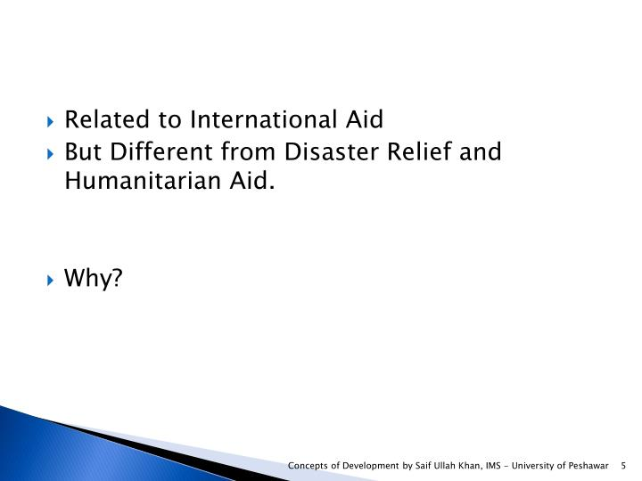 Related to International Aid