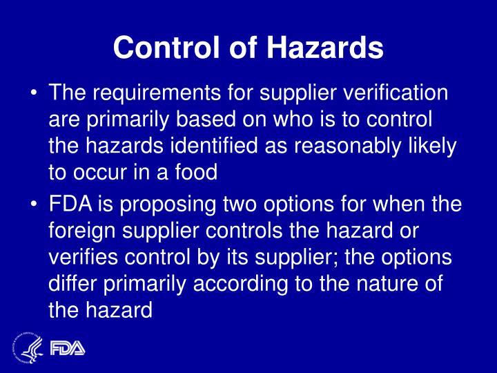Control of Hazards