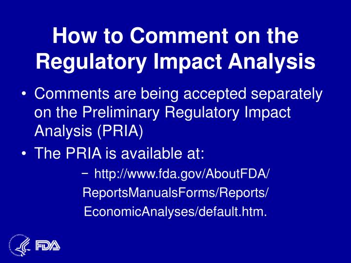 How to Comment on the Regulatory Impact Analysis