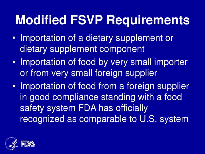 Modified FSVP Requirements