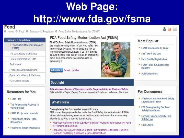 Web Page: http://www.fda.gov/fsma