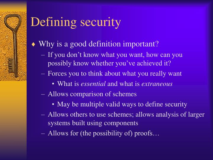 Defining security
