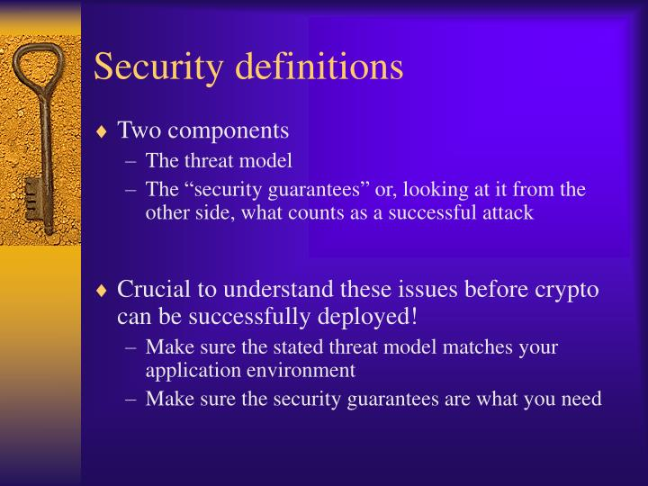 Security definitions