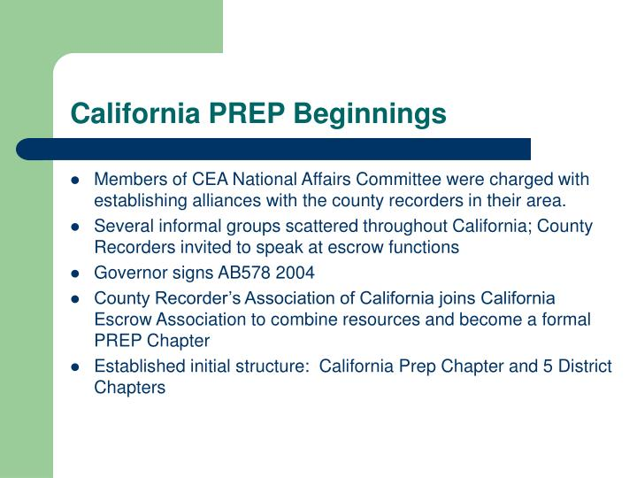 California PREP Beginnings