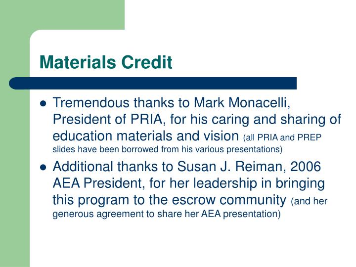 Materials Credit