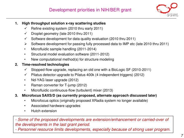 Development priorities in NIH/BER grant