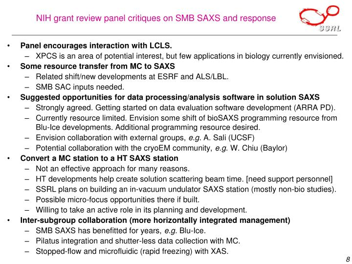 NIH grant review panel critiques on SMB SAXS and response