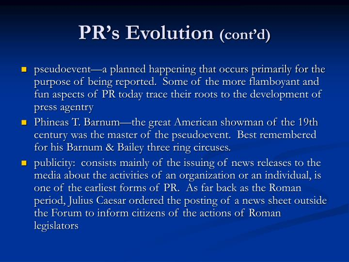 PR's Evolution