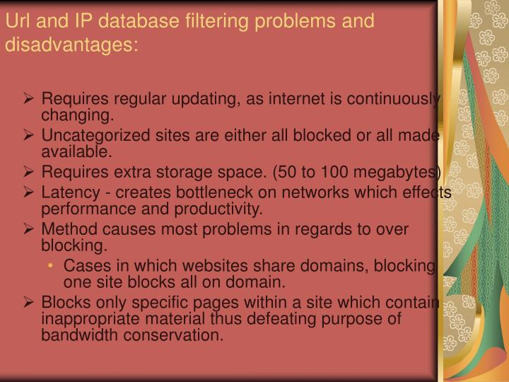Url and IP database filtering problems and disadvantages: