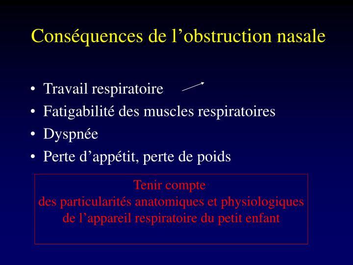 Conséquences de l'obstruction nasale