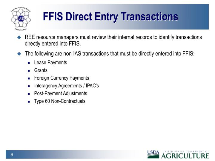 FFIS Direct Entry Transactions