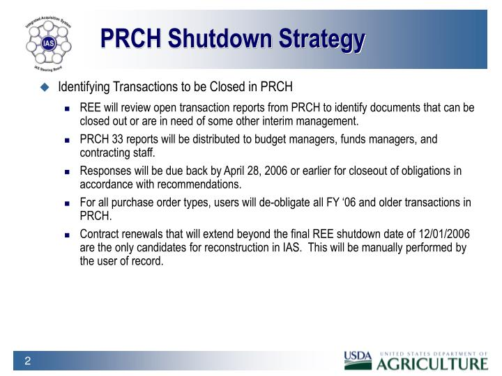 PRCH Shutdown Strategy