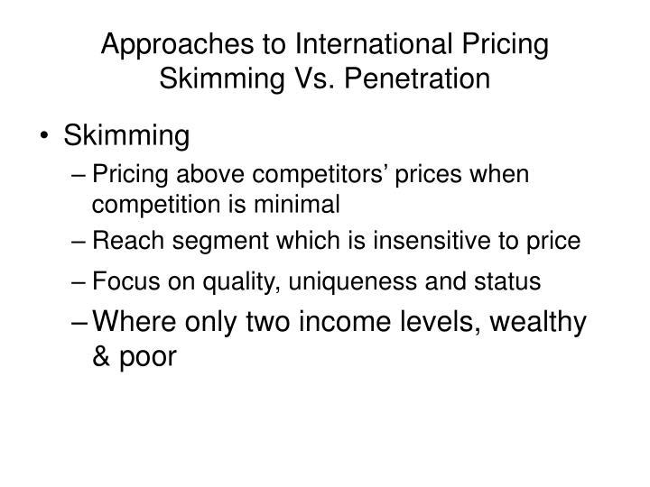 Approaches to International Pricing
